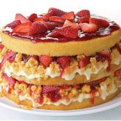 Strawberries & Corn-Cream Layer Cake with White Chocolate Cap'n Crunch Crumbs