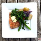 Cedar plank salmon with basil aioli