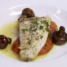 Branzino with Roasted Tomatoes, Olive Oil Poached Mushrooms