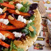 Roasted Carrot Salad with Arugula, Goat Cheese & Crispy Garlic Chips