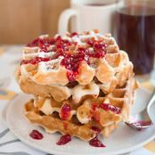 Monte Cristo Waffles with Warm Raspberry Sauce
