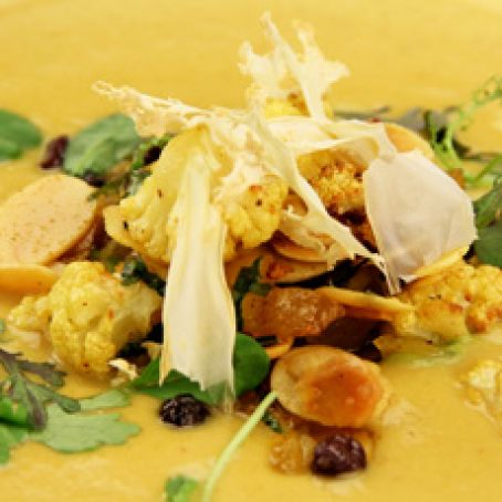 Curry Cauliflower Soup, Currants, Dried Apricots and Toasted Almonds