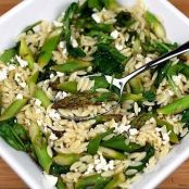 Lemon Orzo Salad with Asparagus, Spinach, and Tofu Feta