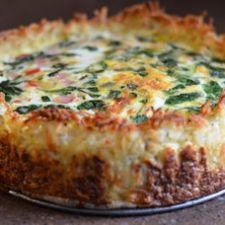 Spinach & Gruyere Cheese Quiche with a Hash Brown Crust