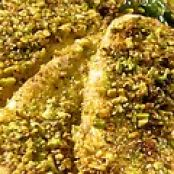 Pistachio-Crusted Tilapia with Chard, Flash-Fried Prosciutto, Gorgonzola and Pine Nuts