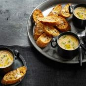 Roasted Garlic Soup with Asiago Crostini