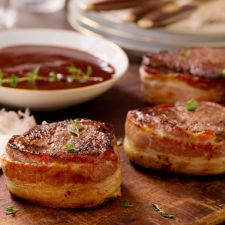 David Venable's Bacon-Wrapped Beef Tenderloin with Red Wine Sauce