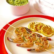 Shrimp Kabobs with Tomatillo-Avocado Salsa