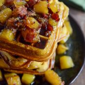 Pumpkin Spice Waffles with Butternut & Bacon Syrup