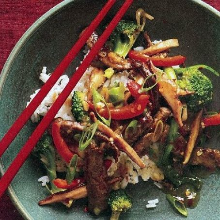 Beef with Broccoli, Bell Pepper and Mushrooms