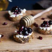 Pomegranate Blueberry and Goat Cheese Crostini