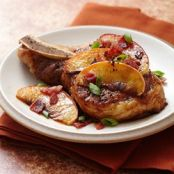 Pan Seared Pork Chops with Brown Sugar Glazed Apples and Bacon