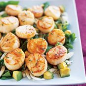 Seared Sea Scallops with Pomegranate-Dressed Salad
