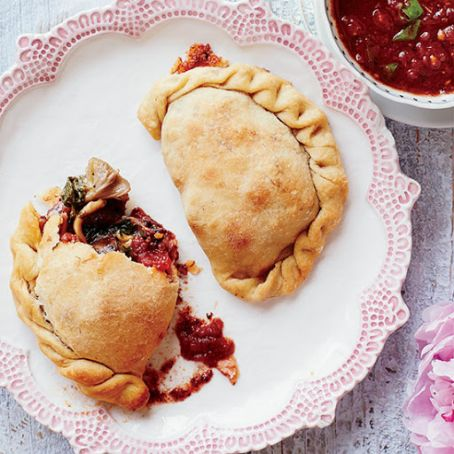 Mini Kale-Mushroom Calzones with Smoked Mozzarella