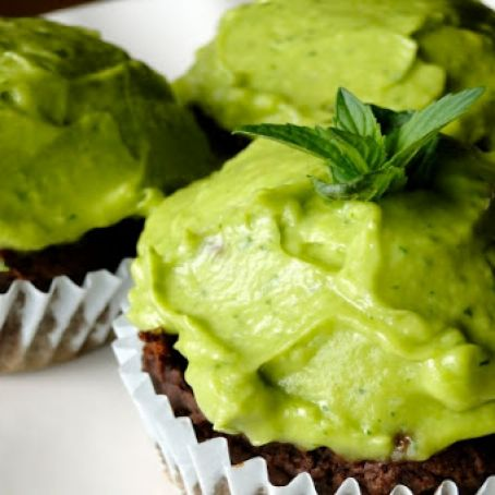 Chocolate Cupcakes with Avocado-Mint Icing