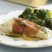Prosciutto-Wrapped Halibut with Sage-Butter Sauce