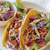 Fish Tacos Recipe with Broccoli Slaw and Lime Cream Sauce | Organic Authority