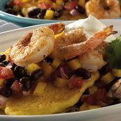 Grilled Shrimp & Griddled Corn Cakes With Black Bean and Tomato Relish
