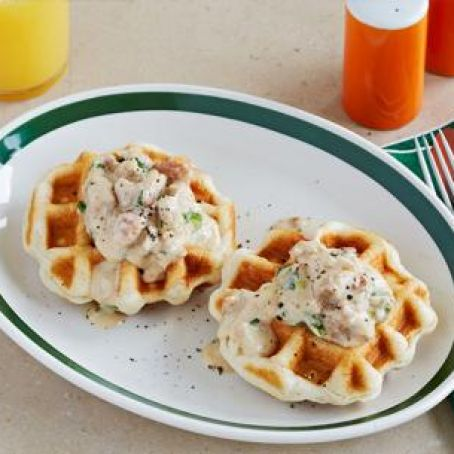 Waffled Biscuits and Sausage Gravy