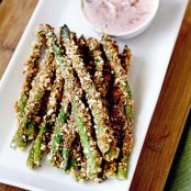 Asparagus Fries with Lemon Herb Sriracha Dip