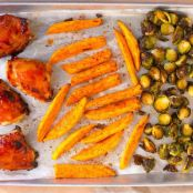 Barbecue Chicken, Brussels Sprouts and Sweet Potatoes