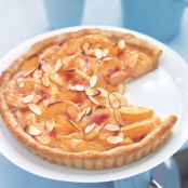 Honey glazed peach tart with mascarpone cream