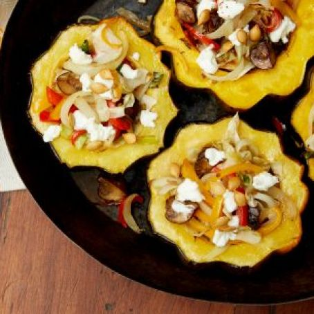 Roasted Acorn Squash with Mushrooms, Peppers & Goat Cheese