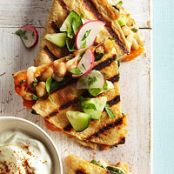 Sweet Potato Quesadillas with Cucumber Relish