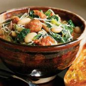 Spicy Sausage, Escarole & White Bean Stew