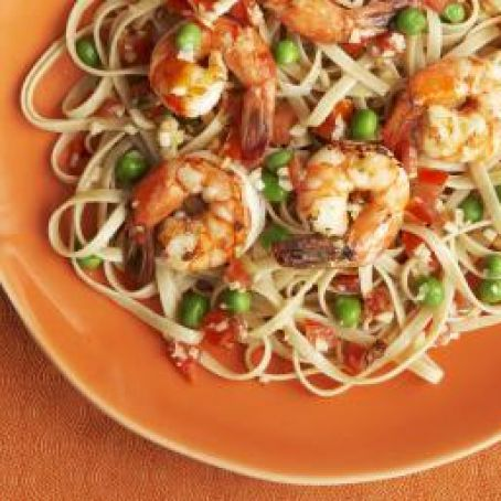 Shrimp Linguine Bake with Mozzarella Cheese