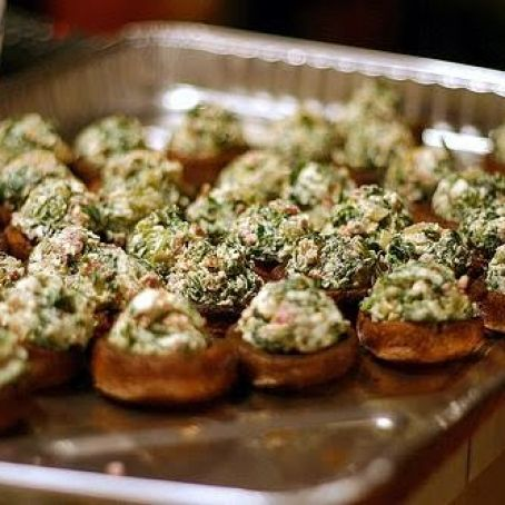 Roasted Mushrooms Stuffed With Feta, Spinach & Bacon