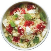 Couscous with Roast Red Peppers, Feta, & Mint