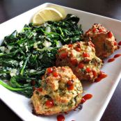 Cilantro and Lime Chicken Meatballs and Sauteed Spinach