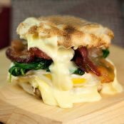 Egg Sandwich with Spinach, Brie & Maple Bacon