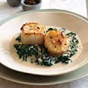 Seared Scallops on Spinach with Apple-Brandy