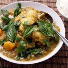 Pressure Cooker Thai Green Chicken Curry with Eggplant & Kabocha Squash
