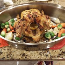 Roasted Chicken with Meyer Lemons and Brussel Sprouts