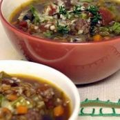 Rustic Farro Soup with Saugage and Mushrooms