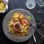 Grilled Pork With Corn Relish & Tomato Salad