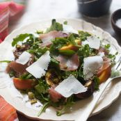 Grilled Fig and Peach Arugula Salad with Ricotta Salata and a Black Pepper Vinagrette