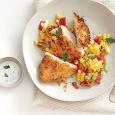 Panko Crusted chicken with corn hash