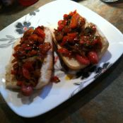 Hot Dogs w/ Onion Sauce & Grilled Red Pepper Relish