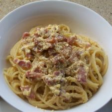 Pasta Carbonara with Sausage, Bacon and Prosciutto