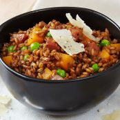 Farro Risotto with Butternut Squash and Peas