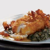 Deep-Fried Poached Eggs with Creamed Spinach & Serrano Ham