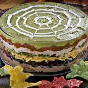 Ghoulishly Good Mexican Layered Bean Dip