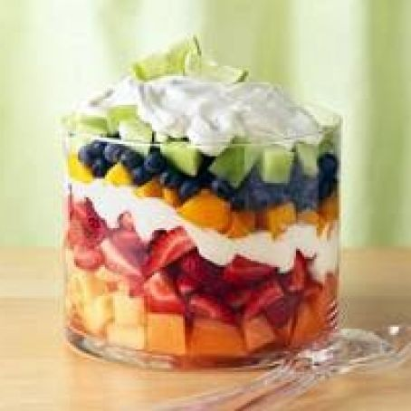 Layered Summer Fruits with Creamy Lime Dressing