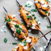 Mediterranean Chicken Skewers with Garlic Mint Sauce