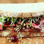 Turkey, Cranberry and Cream Cheese Sandwich with Sprouts and Sunflower Seeds