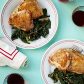 Roast Chicken Breasts With Wilted Greens & Garlic